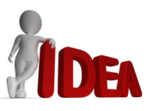 Idea Word And 3d man Shows Thoughts And Invention Royalty Free Stock Photo