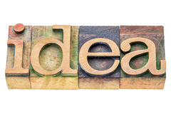 Idea word abstract in wood type Stock Photo