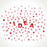 Idea word with in alphabets Royalty Free Stock Photography