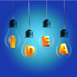 Idea word in bulbs with blue background Royalty Free Stock Images