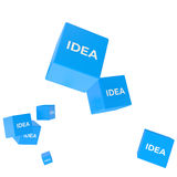 IDEA word on colored cubes, creative business concept. 3D render Royalty Free Stock Images