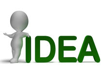 Idea Word And 3d Man Shows Thinking And Invention Royalty Free Stock Image