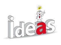 Idea. Word Ideas in a 3D style with Karen the businesswoman. Ideal for a title. It illustrates the concept of the creativity and the intelligence Royalty Free Stock Photo