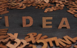 Idea-word letters wood Stock Photography