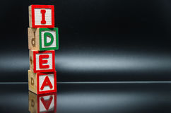 IDEA word wooden block arrange in vertical style on black background and selective focus Stock Images