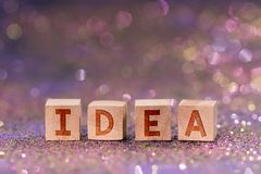 Idea word on wooden cubes stock photos