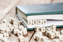 Idea word written on a wooden block. Stock Images