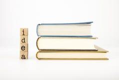 Idea wording and books Stock Photos