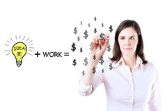 Idea and work can make lots of money. Royalty Free Stock Photos