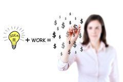 Idea and work can make lots of money. Royalty Free Stock Photography