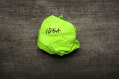 Idea writing on crumpled paper Royalty Free Stock Image
