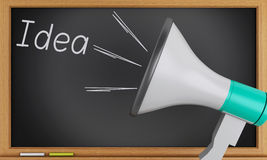 Idea written on chalkboard with Megaphone. 3d renderer image. Idea written on chalkboard with Megaphone. Business concept Royalty Free Stock Photography