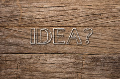 Idea written on wooden background Stock Images