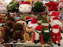 Idea for Xmas and New year gift, Santa, reindeer and snowman doll. As background Royalty Free Stock Photo