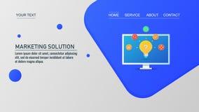 Idea y solución, blub del márketing que brilla intensamente en la pantalla de ordenador, ejemplo del vector ilustración del vector