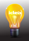 Idea in yellow light bulb Stock Photos