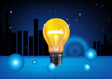 Idea in yellow light bulb Stock Image