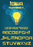 Idea yellow vector alphabet. Stock Images