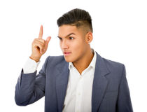 Idea for a young manager. Hispanic man expression in white background Stock Photos
