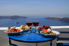 Ideal breakfast on santorini. Ideal breakfast with wonderful seaview on caldera, Santorini island, Greece Stock Image
