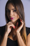 Ideal brunette with plump lips Royalty Free Stock Photo