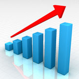 Ideal Business Chart. 3d business graph with red arrow and reflection royalty free illustration