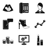 Ideal business icons set, simple style. Ideal business icons set. Simple set of 9 ideal business vector icons for web isolated on white background Stock Photo
