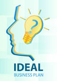 Ideal business plan. With the silhouette and with a lightbulb Stock Image