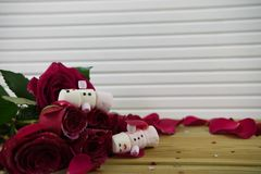Romantic winter season photography image with marshmallows shaped as sleeping snowman with smiles iced on lying in red rose petals Stock Photos