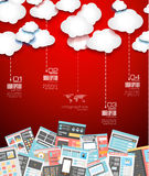 Ideal Cloud technology background with Flat style Royalty Free Stock Images