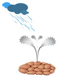 Ideal Condition for Growth. Ideal Conditions for Growing Technology Progress Illustrated as Metal Flower Stock Photography