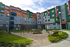 Ideal council estate, with playground for kids Stock Images
