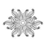 Ideal für Gebrauch in Ihrer Auslegung Gekritzel-Hand gezeichnete Verzierung mit Blumen Schablone für Grußkarte Stockfoto