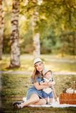 Ideal family: mother and baby stock images