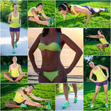 Ideal figure concept - collage of slim beautiful sporty woman do Royalty Free Stock Image