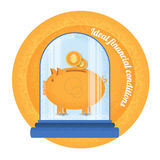 Ideal financial condition.Piggy bank stand under the bulb. Royalty Free Stock Photo