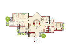 Ideal home plan. Cad plueprint stock illustration