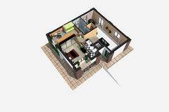 Ideal Home. Representation of architectural design with the technique of photo-realistic rendering, exploded prospective home decor Stock Images