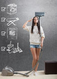 An ideal homemaker. With weekly chore checklist Royalty Free Stock Photo