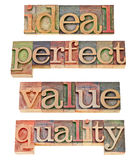 Ideal, perfect, value and quality. A collage of isolated words in vintage letterpress wood type stock image