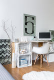 Ideal space for work at home. Modern loft with ideal cozy space for work Stock Photos