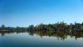 Ideal symmetry. Lake in Cambodia. 10-01-2014 Stock Photography