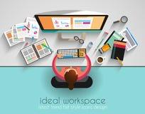 Ideal Workspace för teamwork och brainsotrming med plan stil Royaltyfria Bilder