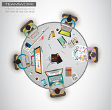 Ideal Workspace for teamwork and brainsotrming with Flat style. Royalty Free Stock Photo