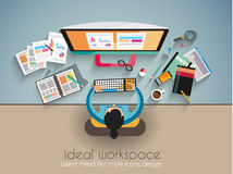 Ideal Workspace for teamwork and brainsotrming with Flat style. Royalty Free Stock Photos