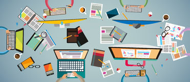 Ideal Workspace for teamwork and brainsotrming with Flat style. Royalty Free Stock Photography