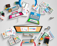 Ideal Workspace for teamwork and brainstorming Stock Images