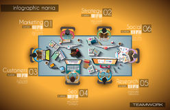 Ideal Workspace for teamwork Infographic and brainstorming with Flat style Royalty Free Stock Photos