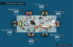 Ideal Workspace for teamwork Infographic and brainstorming with Flat style Stock Photo