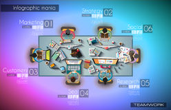 Ideal Workspace for teamwork Infographic and brainstorming with Flat style Royalty Free Stock Images